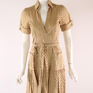 Diane Von Furstenberg Tan Eyelet Size 2 Wrap Dress